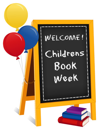Childrens Book Week, first week in May, chalk text on chalkboard easel sign, balloons, stack of books, for schools, libraries and bookstores, isolated on white background.