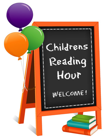 Childrens Reading Hour, chalk text on chalkboard easel sign, balloons, stack of books for schools, libraries and bookstores, isolated on white background.