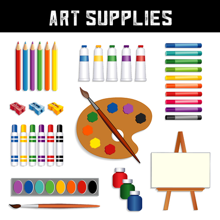 Art supplies collection: colored pencils, sharpeners, tubes of paint, oil pastel crayons, felt tip marker pens, watercolors, brushes, artist palette, jars of paint, easel with blank canvas, isolated on white background. Stock Illustratie