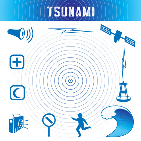Tsunami icons and symbols in ocean blue: earthquake epicenter, satellite and transmission, tsunami detection buoy, ocean wave crest, escaping person, evacuation route sign, radio, emergency aid services, civil defense siren. Stock Illustratie