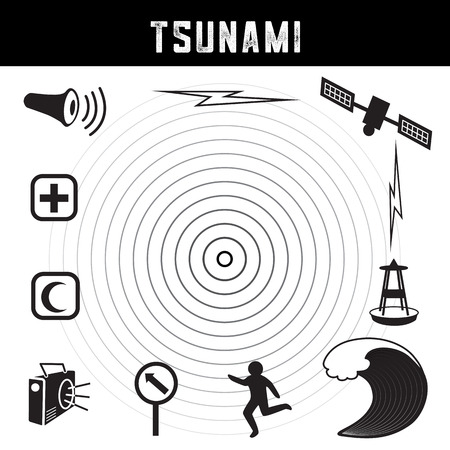 Tsunami icons and symbols: earthquake epicenter, satellite and transmission, tsunami detection buoy, ocean wave crest, escaping person, evacuation route sign, radio, emergency aid services, civil defense siren.