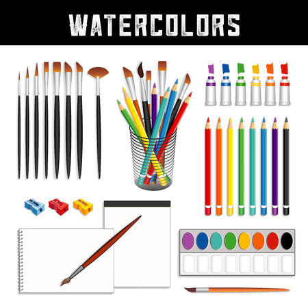 Watercolor tools and supplies: tubes of paints, field box, desk organizer, brushes, pencils, sharpeners and papers for fine art painting and illustration, isolated on white background. Stock Illustratie
