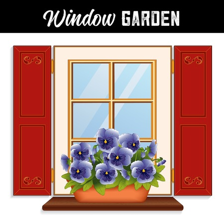 Window Flower Garden with blue sky pansies in clay planter on a wooden shelf, window pane, red shutters with scroll decoration.