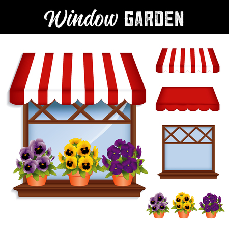 Window Flower Garden with lavender, gold and violet purple pansies in clay flowerpots on a wooden shelf, window pane, red and white stripe awning, isolated on white background.