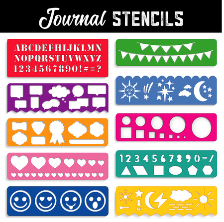Journal Stencils, Collection of ten stencils to create text, art and graphics for journals, travel books, bullet journals, day books, diary: alphabet, numbers, shapes, emojis, word bubbles, badges, pennants and weather icons.