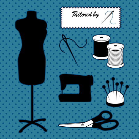 Do it yourself sewing and tailoring tools, fashion model mannequin in black and white stripes, sewing machine, Tailored by ... sewing label, needle and thread, pincushion, scissors. Polka dot design on blue background. EPS8 compatible.