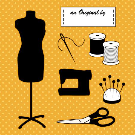 Mannequin modèle, outils de couture et de couture de mode à faire soi-même Vecteurs