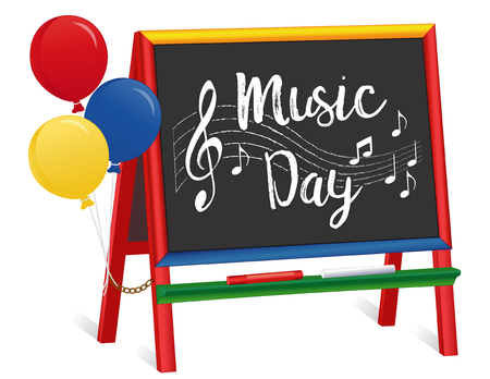 Music Day, treble clef, staff, notes, chalk text, multicolor wood children's chalkboard easel with balloons, for preschool, daycare, nursery school, kindergarten. March is Music Month. EPS8 compatible.