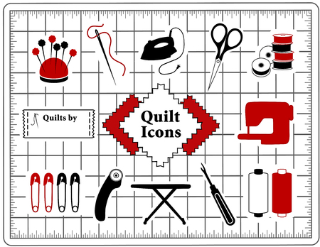 Quilt, patchwork, do it yourself sewing icons Illustration