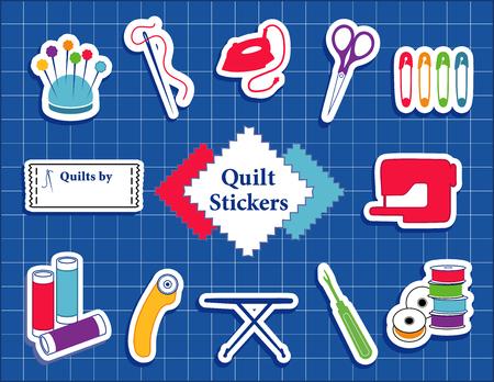 Quilt, Patchwork, selber nähen Icons Vektorgrafik