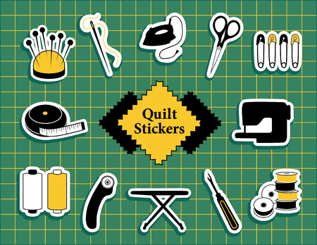 Quilt, patchwork, do it yourself sewing icons Stock Illustratie