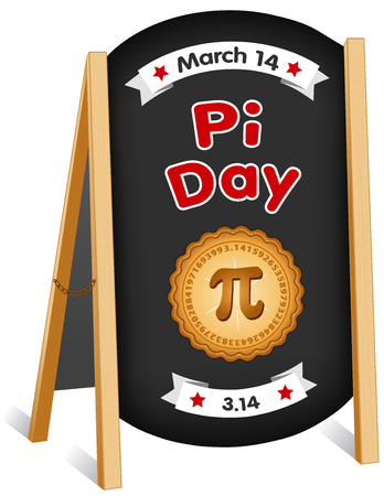 Pi Day, March 14, international holiday to celebrate the mathematical constant pi and eat lots of fresh baked sweet pie, sidewalk chalk board sign, folding easel, brass chain. EPS8 compatible.