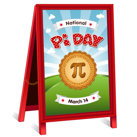 Pi Day, March 14, to celebrate the mathematical constant pi and to eat lots of fresh baked sweet pie, international holiday, red polka dot text, blue sky and clouds background, sidewalk chalk board sign, folding easel with brass chain. Illustration