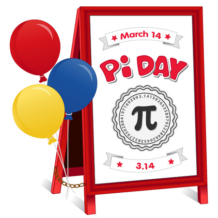 Happy Pi Day, March 14, to celebrate the mathematical constant pi, 3.14, balloons, and to eat lots of fresh baked sweet pie, international holiday, red frame whiteboard background, sidewalk sign, folding easel with brass chain. Stock Illustratie