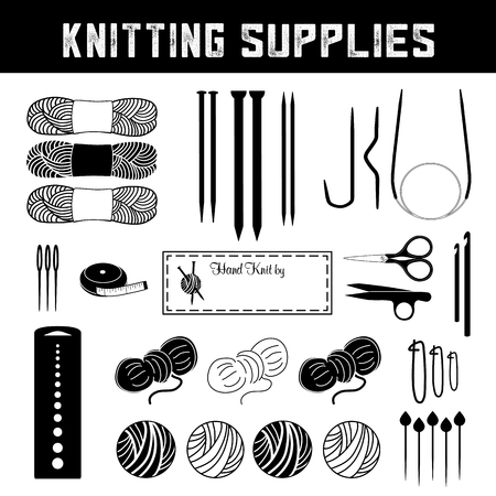 Knitting tools and supplies for flat, circular and cable knits Stok Fotoğraf - 118905230