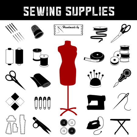 Sewing and tailoring supplies and tools icons for do it yourself sewing, tailoring, dressmaking, needlework, darning, arts and crafts. Stock Illustratie