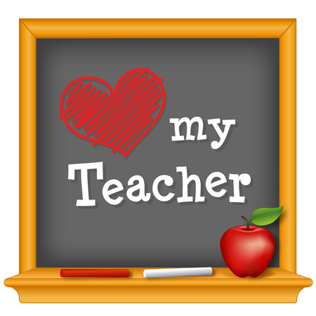 Love my Teacher, red heart on wood frame chalkboard, chalk, big red apple for the teacher. Stock Illustratie