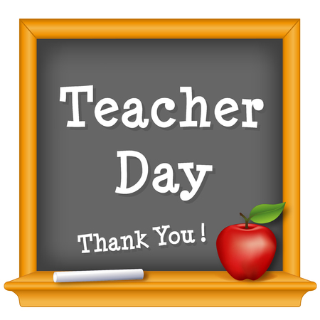Teacher Day, national holiday on Tuesday of first full week of May, text on wood frame chalkboard, thank you with a big red apple for the teacher.