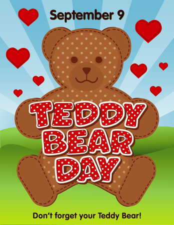 National Teddy Bear Day, annual holiday in USA on September 9, red polka dot text, grass lawn, blue sky background. Don't forget your teddy bear!