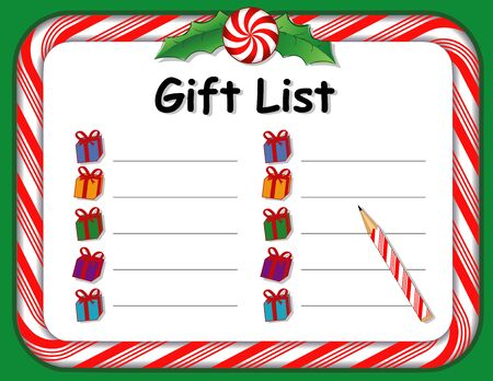 Christmas holiday gift list on whiteboard with candy cane frame in red and green, holly, peppermint candy, copy space to personalize with your text.