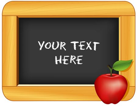 Chalkboard with wood frame, apple for the teacher. Add your own text or art