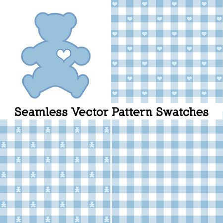 Teddy Bear with a big heart, pastel blue gingham check seamless patterns in three designs.
