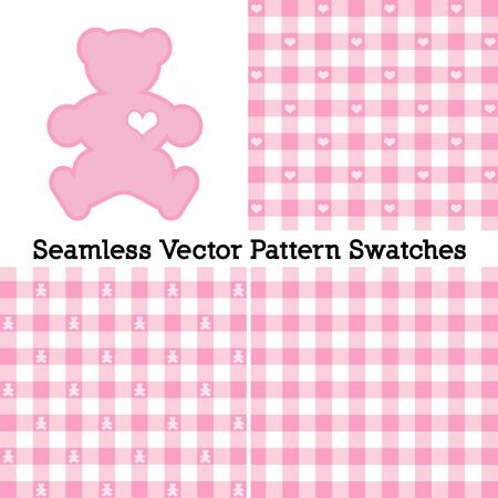 Teddy Bear with a big heart, pastel pink gingham check seamless patterns in three designs.