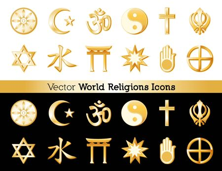 World religion icons from top left
