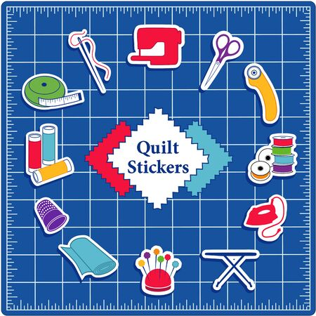 Quilting, patchwork, stitchery, applique, do it yourself sewing icons including pins, pincushion, needle, spool, thread, iron, ironing board, scissors, bobbins, cloth, swatch, sewing machine, rotary cutter, thimble, tape measure on blue self healing cutting mat. Stock Illustratie