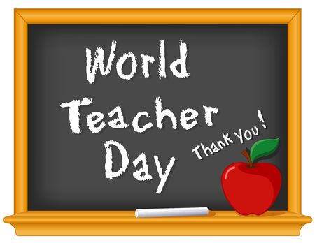 World Teacher Day, Thank You! observed each year on October 5 in over 100 countries, red apple, wood chalkboard for classroom, education and school events. Isolated on white background.