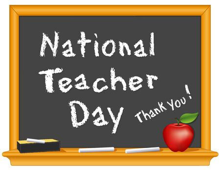 National Teacher Day, Thank You! Annual holiday Tuesday of first full week of May. Chalk text on blackboard, eraser, red apple for the teacher.  Stock Illustratie