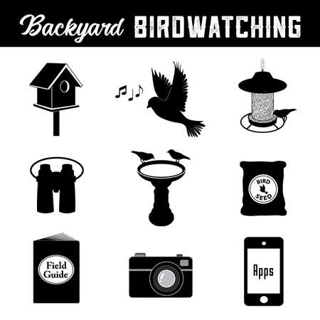 Birdwatching, equipment and gear icons for the backyard birder, birdhouse, bird, song, bird feeder, binoculars, birdbath, seed, field guide, camera, smart phone and apps.