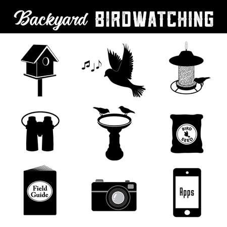 Birdwatching, equipment and gear icons for the backyard birder, birdhouse, bird, song, bird feeder, binoculars, birdbath, seed, field guide, camera, smart phone and apps.