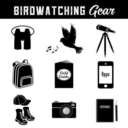 Birdwatching, equipment and gear icons for the avid birder, binoculars, singing bird, telescope, tripod, daypack, field guide, smart phone with apps, hat, hiking shoes, camera, notebook and pencil. Illustration