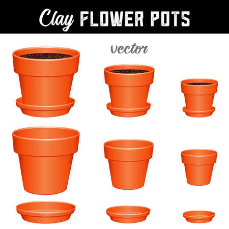 Flower pots, small, medium, large clay garden planters and saucers, separate and combined versions for Do It Yourself garden projects isolated on white background. Vecteurs