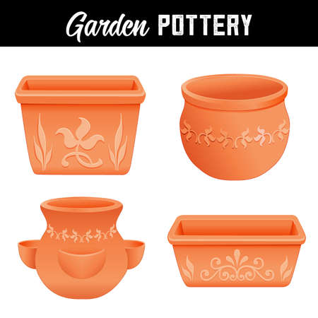 Garden Pottery Planters with Floral Designs, round, square, and strawberry jar clay flower pots for do it yourself garden projects isolated on white background.