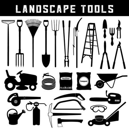 Landscape Tools, Do it Yourself for garden, lawn, grass, trees, orchard care and maintenance, twenty-six silhouette icons isolated on white background. Stock Illustratie
