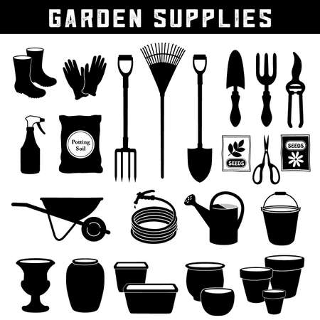 Garden Supplies, Do It Yourself tools for backyard and home garden care and maintenance, twenty-six silhouette icons isolated on white background.