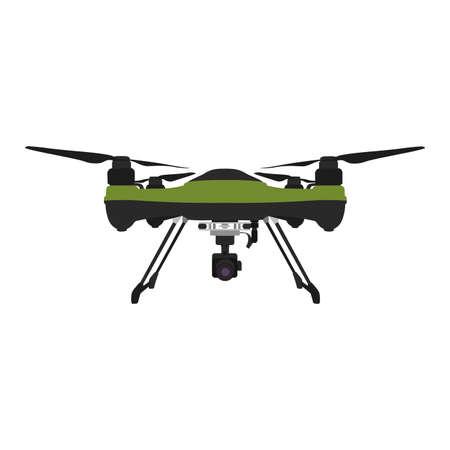 Drone aérien à distance avec une caméra prenant des photos ou des enregistrements vidéo.