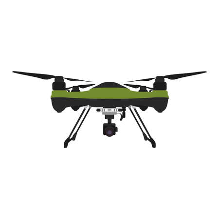 Remote aerial drone with a camera taking photography or video recording.