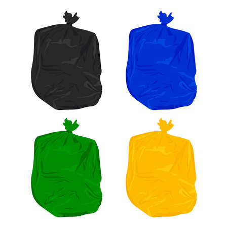 Plastic waste bags, set of colored garbage waste bags plastic.