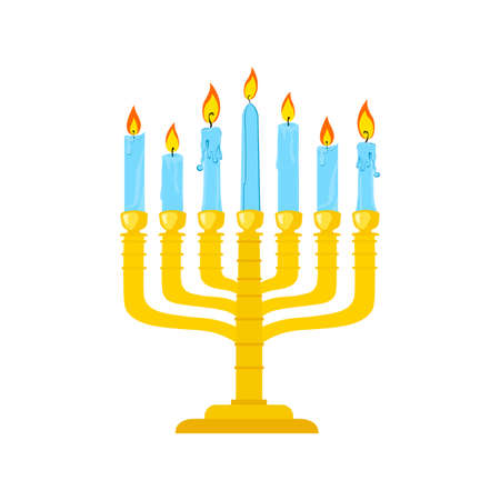 Golden Menorah with burning candles usually used at Hanukkah or Shabbat celebrations. Çizim