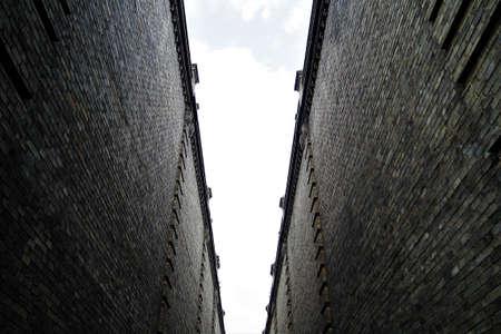 A high wall outside the Harbin old road Фото со стока