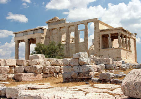 The Acropolis, Temple Cariathides of the Erechtheion, in Athens, Grecce Фото со стока