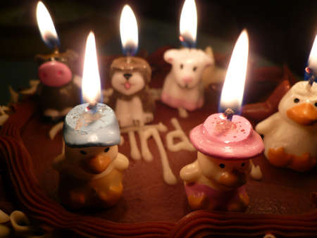 lighted: birthday cake with lighted candles Stock Photo
