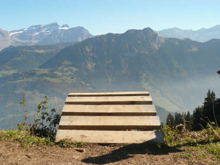 off ramp: ramp leading off over the side of a mountain in switzerland Stock Photo