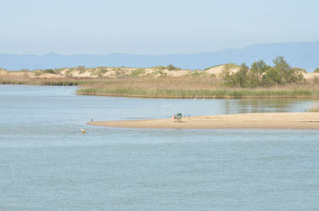 endpoint: View from a boat around the cabo de tortosa, the point where the ebro river meets with the mediteranean Stock Photo