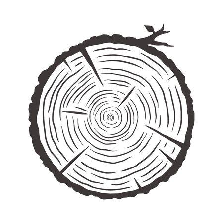 Wood texture of wavy rings pattern from a slice of tree. Monochrome wooden stump Vektorgrafik