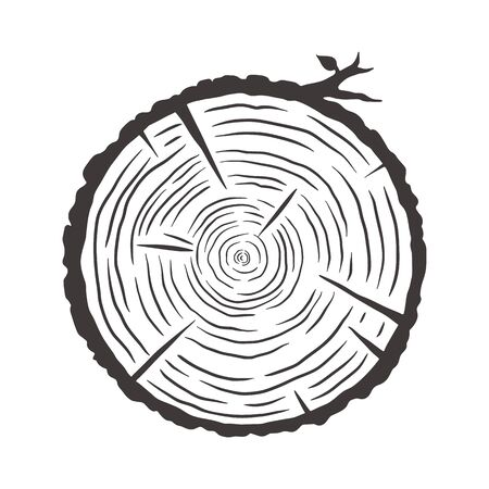 Wood texture of wavy rings pattern from a slice of tree. Monochrome wooden stump Ilustración de vector