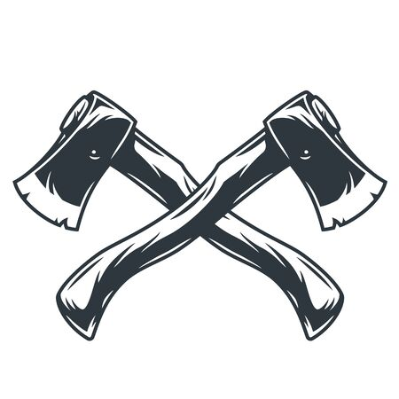Crossed axes for camping and forest lumberjack
